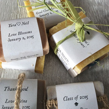Favor Soaps organic homemade soap bridal favors wedding party graduation baby shower anniversary custom message love valentines half bar