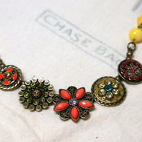 Vintage Inspired Floral Necklace Yellow Beaded Chain with Antique Bronze Flower Embellishments