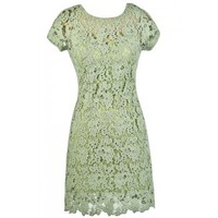 Lily Boutique Lime Sage Green Crochet Lace Dress, Crochet Lace Sheath Dress, Green Crochet Lace Dress, Green Crochet Lace Summer Dress, Cute Lace Summer Dress Lily Boutique