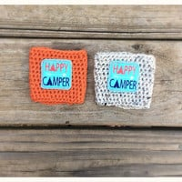 Happy Camper Coffee Cozy ~ Crochet Coffee Cozy ~ Starbucks Coffee Sleeve ~ Togo Cup Cozy ~ Handmade Gifts ~ Reuseable Cup Sleeve ~ Gifts und