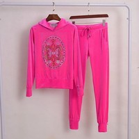 Juicy Couture Studded Logo Velour Tracksuit 2pcs Women Suits Rose