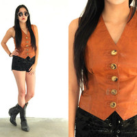 Vintage LEATHER Wood Button Crop Sleeveless Tank Top Vest // Brown Cognac Tan // Hippie Gypsy Boho Biker // XS Extra Small