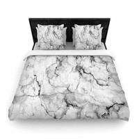 "Chelsea Victoria ""Marble No 2 "" Black Modern Woven Duvet Cover"