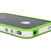 Generic Premium Bumper Case for Apple iPhone 4 - Non-Retail Packaging - White/Green
