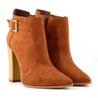 Hasp Candy Color Pointed Toe High Chunky Heels Short Martin Boots
