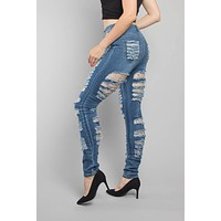 Double Distressed Denim Skinny Jeans