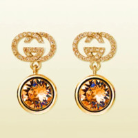 GUCCI New Fashion Diamond Amber Letter Earrings Agate crystal Small drill Earring