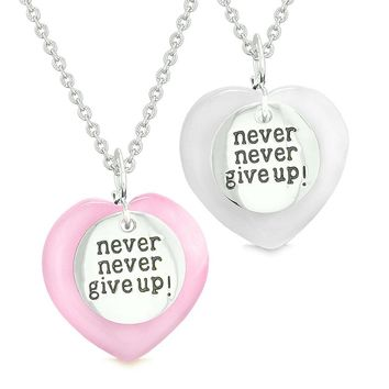 Amulets Never Give Up Love Couples or Best Friends Hearts Pink White Simulated Cats Eye Necklaces