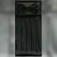 Classy Black Cummerbund and Bow Tie Set with Box