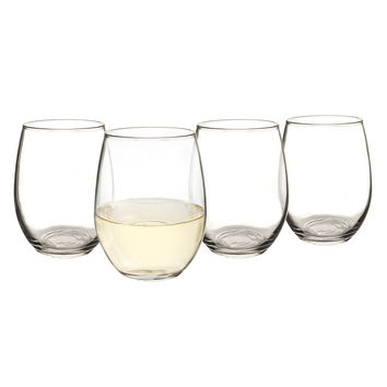 Personalized 21 oz. Stemless Wine Glasses (Set of 4)