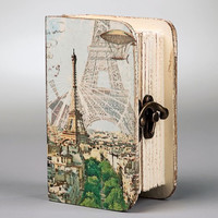 Wooden handmade box with vintage fittings 'Paris' for jewelries, decoupage