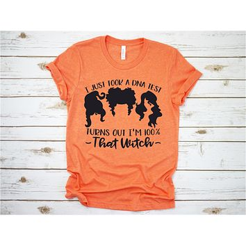 100% that Witch - DNA Test - Hocus Pocus - Halloween Tee -  Fall Tee - Ruffles with Love - RWL - Unisex Tee - Graphic Tee