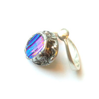 Adjustable Cocktail Ring Dichroic Glass Jewelry Antiqued Sterling Silver Oval Shape Metallic Pink and Blue Sparkle Fashion Statement Ring