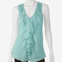 A. Byer Ruffle Lace Back Top – Juniors - Tops | Stage Stores