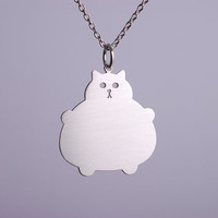 Silver Cat Necklace Kawaii Jewelry Fat Kitty by marymaryhandmade