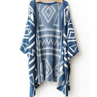 A 082605 y Geometric Shawl Loose Sweater Coat