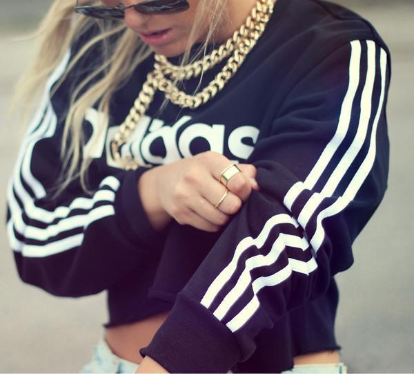 Image of Adidas Fashion Short Shirt Crop Long Sleeve Top Blouse Tunic Sweater Pullover