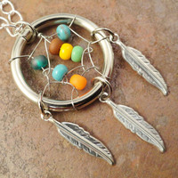 Dream Catcher Necklace with Silver Feathers