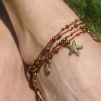 Starfish beaded anklet, summer hippie anklet,seashell anklet, bronze anklet, layer anklet, gift for her, gypsy jewelry, beach, yoga, zen