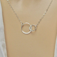 Double Circle Necklace, 925 Sterling Silver, Double Ring Necklace, Eternity  Necklace, Karma Necklace, Bridesmaid Gift, Sisters Necklace
