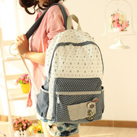 Floral Anchor Dot British Institute Style Canvas Backpack/Computer Bag