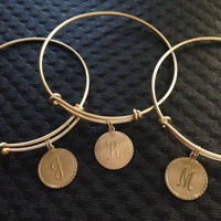 Gold Letter Initial Charm Expandable Bracelet Gift Adjustable Gold Wire Bangle One Size fits all Stackable Stacking Trendy Handmade