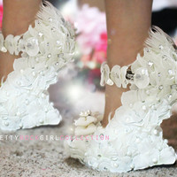 White Petal Flower shoes with Feather and Pearls by PrettyRockGirl