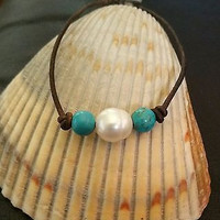 Genuine Freshwater Pearl, Turquoise and Organic Leather Bracelet