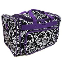 Damask Print Duffle - Dance Cheer Gym Pageant Travel Bag (Purple/Black)