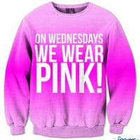 On Wednesday's We Wear Pink Fresh Top Crew Neck | fresh-tops.com
