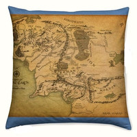 Hobbit Gift, Geek Gift, Lord Of The Rings, Middle Earth Map Pillow, Cushion, Geek Pillow