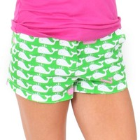 Down By The Seaside Green Whale Print Shorts | Monday Dress Boutique