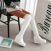 Lace Platform Wedge Over the Knee Boots 4921