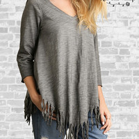 Fringe Trim V-Neck Top - Gray