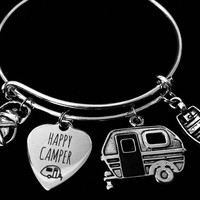 Happy Camper Adjustable Charm Bracelet Expandable Silver Adjustable Bangle Boating Camp Life One Size Fits All Gift