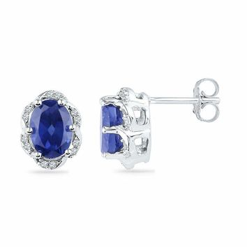 10kt White Gold Women's Oval Lab-Created Blue Sapphire Solitaire Diamond Earrings 2-1-2 Cttw - FREE Shipping (US/CAN)