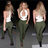 White Cut-Out Top Army Green Skinny Pants Set
