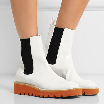 Stella McCartney - Faux patent-leather Chelsea boots