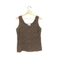Vintage silk tank top. loose fitting silk top. black beige brown silk tank. minimalist modern tank. printed dots blouse top. sleeveless. M
