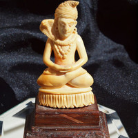 Vintage 1940 Bone Carved Idol with Snake Small with Intricate Detail