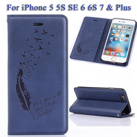 6S Plus Case for iPhone 7 Plus Case Pinna Pattern for iPhone SE 5 5S Wallet Case for iPhone 6 S Plus Flip Cover Auto Adsorption