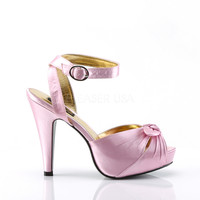 "Bettie 04 Ankle Wrap Platform Sandal Bow Detail 4"" High Heel Pink"