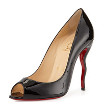 Jolly Patent Squiggle-Heel Red Sole Pump, Black - Christian Louboutin - Black