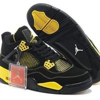 Cheap Air Jordans 4 Retro Men Black Yellow White Shoes