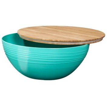 Evergreen Summer Melamine Serving Bowl with Bamboo Lid