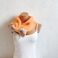 Knitted Bow Scarf Chunky Neck Warmer Peach Vanilla. Winter Fashion Knitted Cowl. Woman Accessory