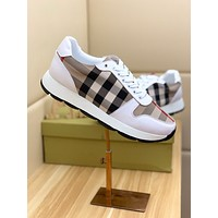 BURBERRY  Men Fashion Boots fashionable Casual leather Breathable Sneakers Running Shoes Sneakers