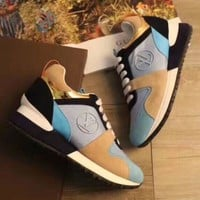 【Louis Vuitton】LV Woman Trending Fashion Casual Print Running Shoes Light blue G
