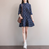 HALF-OPEN BUCKLE KOREAN CASUAL SKIRT DRESSING DRESS