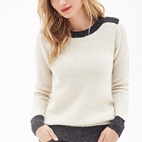 LOVE 21 Waffle Knit Pullover Cream/Charcoal